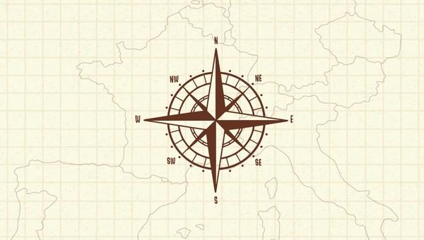 arah mata angin di kompas bahasa inggris